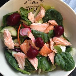 Hot smoked salmon (P), lettuce (S), baby spinach (S), red cabbage (S), carrot (S), cucumber (S), radish (S), and beetroot (SP)