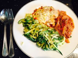 Courgetti. Recipe here: https://kellsslimmingworldadventure.wordpress.com/2015/07/29/food-swap-courgetti-for-spaghetti/