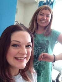 With Abbie, ready to start bunching up my hair