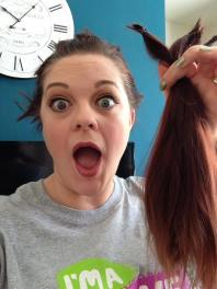 I have my hair in my hands!